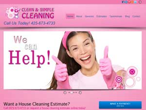 Online Marketing Muscle Web Design Client Clean and Simple Cleaning of Lynnwood, WA