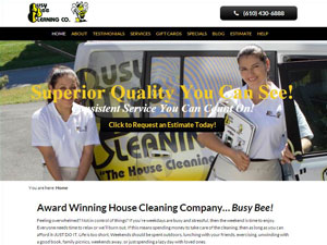 Online Marketing Muscle Web Design Client Busy Bee Cleaning Company of West Chester, PA